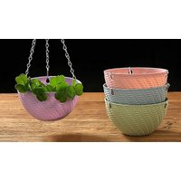 1, 2 or 4 Round Woven Hanging Baskets – 4 Colours