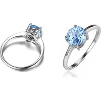 1.6ct Blue Simulated Topaz Solitaire Ring - 4 Sizes