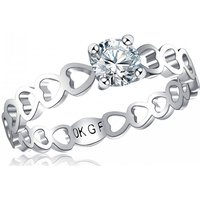 1ct Clear Simulated Sapphire Rhodium-plated Love Heart Ring - 4 Sizes