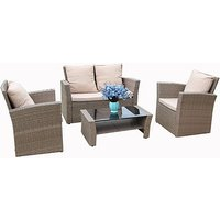 'Rosen' 4-Seater Rattan Dining Set With Optional Rain Cover – 3 Colours