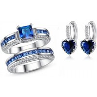 2.5ct Simulated Sapphire Ring Set & Free Heart Earrings - Free Delivery!