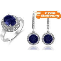 Image of 18K White Gold Plated Simulated Sapphire Earrings Free Delivery!