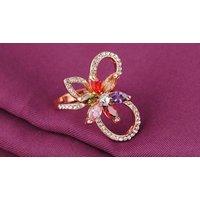 18k Rose Gold-plated Multicoloured Flower Ring - 3 Sizes