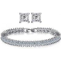 18k White Gold Plated Tennis Bracelet & Earrings With Swarovski Elements