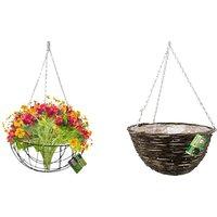 Set of 3 Hanging Baskets – Metal or Rattan