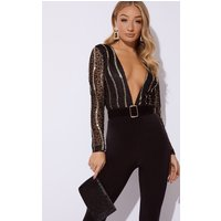 Black Bodysuits - Black Lace And Sequin Bodysuit