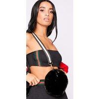 Black Bags - Black Stripe Cross Body Faux Fur Bag