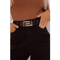 Black Belts - Black Greek Key Buckle Belt