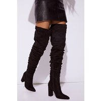 Black boots - black faux suede ruched over the knee boots