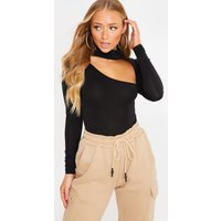 Black Bodysuits - Charlotte Crosby Black Turtle Neck Cut Out Detail Jersey Bodysuit