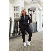 Black Boilersuits - Plus Size Laila Loves Black Utility Zip Front Slim Leg Boilersuit