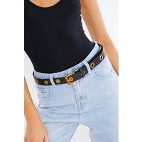 Black Belts - Black with Gold Eyelet Belt