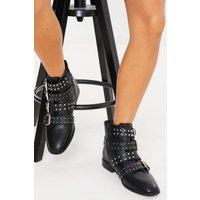 Black boots - black buckle stud detail flat ankle boots