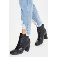 Black boots - black croc patent heeled ankle boots