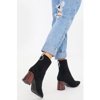 Black boots - black faux suede brown heel ankle boots