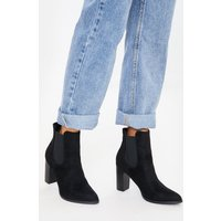 Black boots - black faux suede heeled ankle boots
