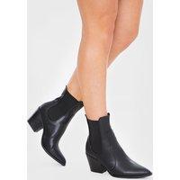 Black Boots - Arna Black Pu Ankle Cowboy Boots