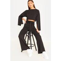 Black Sets - Black Flared Sleeve Cropped Loungewear Set