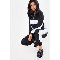 Black Sets - Black Cropped Half Zip Detail Sweater And Joggers Loungewear Set
