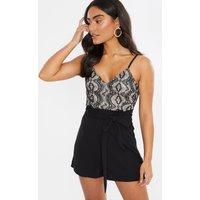 Black Playsuits - Black Lace Detail Paper Bag Style Tie Waist Playsuit