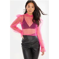 Pink Blice - Pink Mesh Long Sleeve Bow Tie Detail Blouse