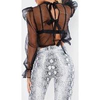 Black Blice - Black Mesh Long Sleeve Bow Tie Detail Blouse