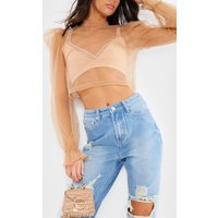 Nude Blice - Nude Mesh Long Sleeve Bow Tie Detail Blouse