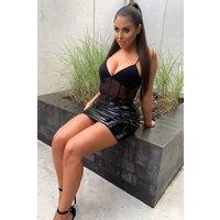 Black Bodysuits - Black Mesh Panelled Bodysuit