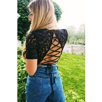 Black Bodysuits - Dani Dyer Black Lace Up Back Lace Bodysuit