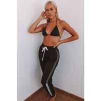 Black Joggers - Lottie Tomlinson Black Shell Stripe Side Loungewear Joggers