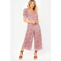 Red Jumpsuits - Red Floral Sheer Culotte Jumpsuit