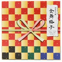 Gold Checkered Origami Paper