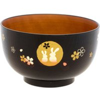'Medium Rice Bowl - Black And Brown, Rabbit, Moon And Cherry Blossom Pattern