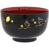 'Plastic Medium Rice Bowl - Black And Red, Rabbit Pattern