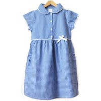 Girls Gingham Checked Summer School Dress - Blue - 5yrs Plus at Natural Collection