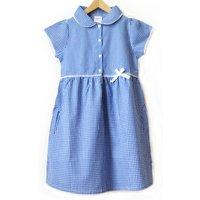 Girls Gingham Checked Summer School Dress - Blue - 3yrs Plus.