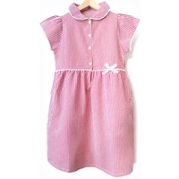 Girls Gingham Checked Summer School Dress - Red - 5yrs Plus.