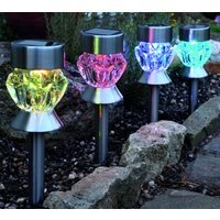Solar Powered 3-in-1 Crystal Glass Stake Lights Pack of 4