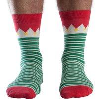 Doris & Dude Green Stripe Christmas Bamboo Socks - Uk7-11