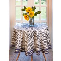 Blue Paisley Round Table Cloth