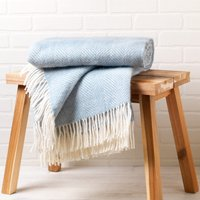 Pure New Wool Duck Egg Fishbone Throw