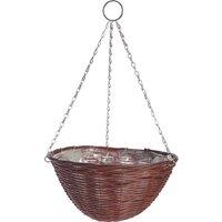 Rattan Effect Brown Hanging Basket