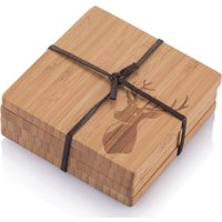 Bamboo Coasters with Stag Motif - Set of 4