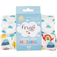 Frugi Lovely Muslin Cloths - Clouds & Dinos - Pack of 2