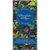Chocolate & Love Organic & Fairtrade Rich 71% Dark Chocolate Bar - 80g at Natural Collection