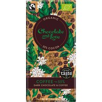 Chocolate & Love Organic & Fairtrade Coffee 55% Dark Chocolate Bar - 80g at Natural Collection