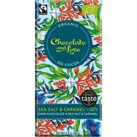 Chocolate & Love Organic & Fairtrade Sea Salt & Caramel 55% Dark Chocolate Bar - 80g at Natural Collection