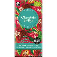 Chocolate & Love Organic & Fairtrade Creamy 55% Dark with Cacao Nibs Chocolate Bar - 80g