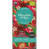 Chocolate & Love Organic & Fairtrade Creamy 55% Dark with Cacao Nibs Chocolate Bar - 80g