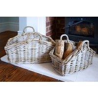 Natural Grey Rattan Baskets - Set of 2